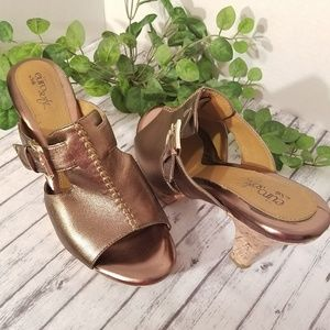 Euro Soft  Bronze Cork Heel Slip Ons Sandals